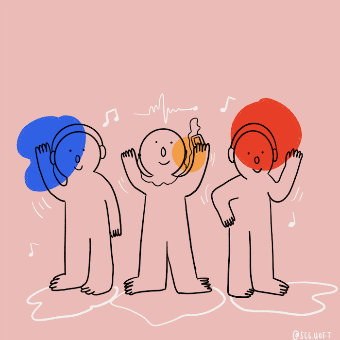 Illustration of three people wearing headphones and dancing to music.
